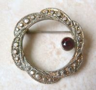 Vintage Faux Marcasite And Garnet Wreath Brooch.
